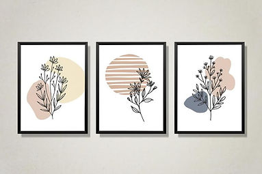 Set of 3 Botanical Wall Art _ Abstract P