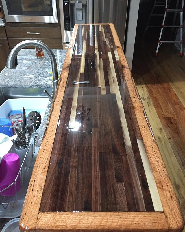 Walnut bar countertop with barnwood surround for the Lawrence House build #walnutcountertop #woodenc