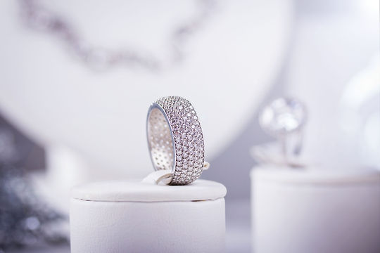 Silver ring with little diamonds. Isolat