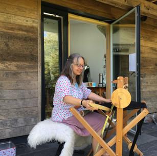 Me weaving outside the studio