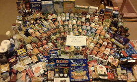 A lot of food that has been donated.