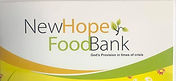 """The logo has the heading """"New Hope Food Bank"""" and a subheading """"God's Provision in times of crisis"""""""