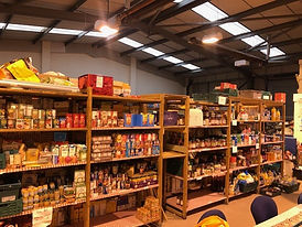 Rows of food in the food bank.