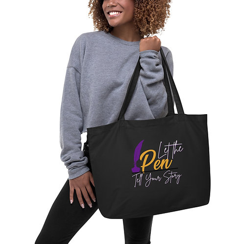 Let Your Pen Tell Your Story Large organic tote bag