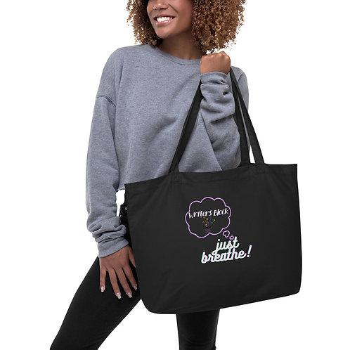 writers Block Just Breath Large organic tote bag