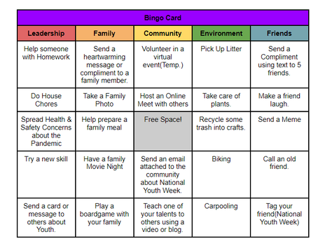 We Rise by Lifting Others: Halton Youth Initiative Acts of Kindness Bingo - National Youth Week 2021