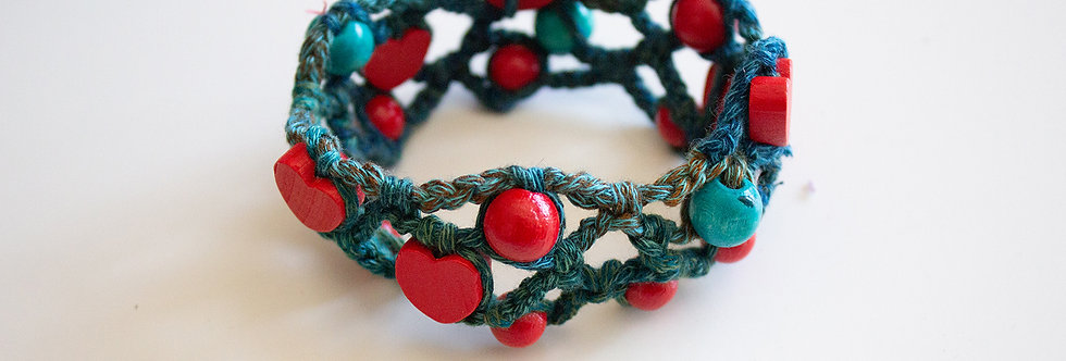 Petrol blue crocheted bracelet with wooden pearls