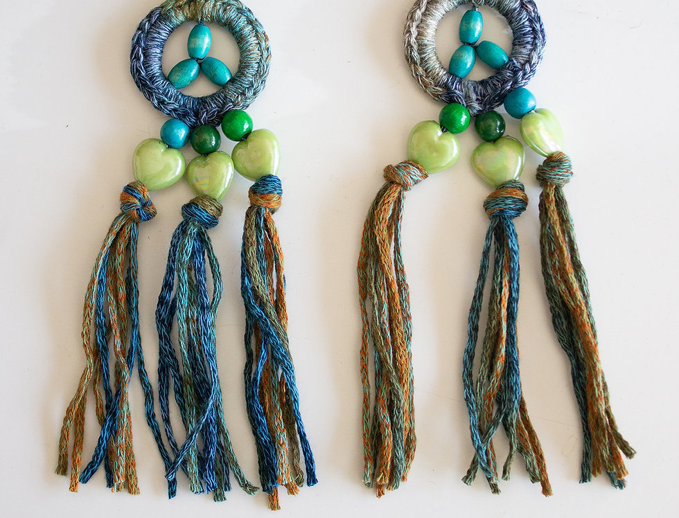 Blue-green crocheted earrings with wooden pearls