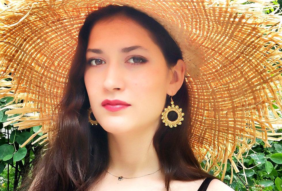 Sun Goddess earrings, gold