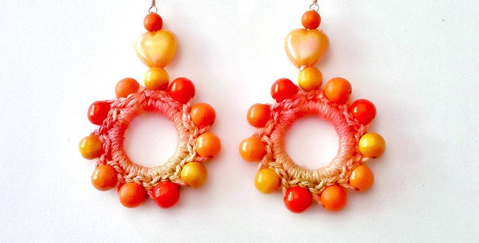 Sunflower earrings, orange
