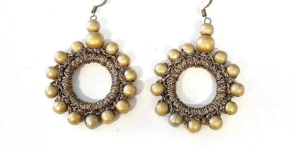 Sun goddess earrings, bronze
