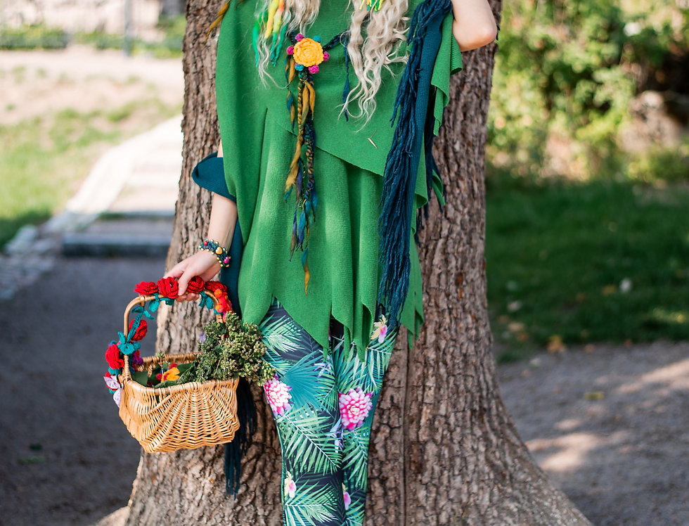 wearing knitted green ladybell tunic