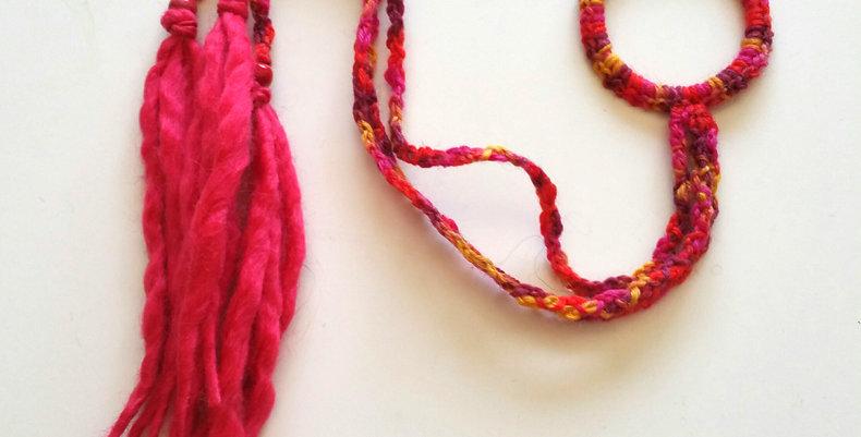 fire coloured crocheted dragon braid hair band