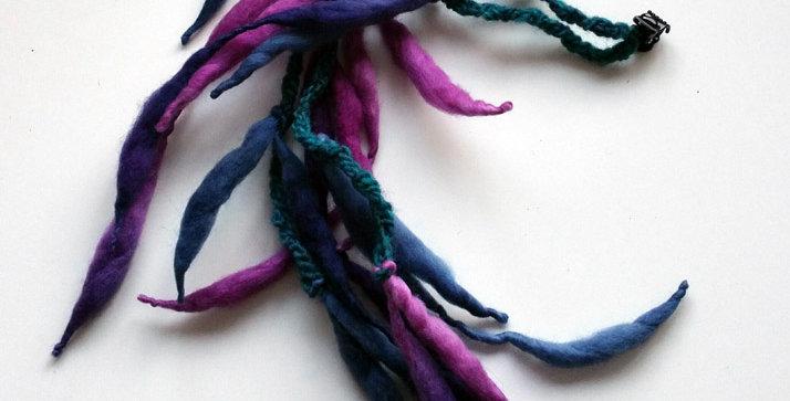 violet coloured crocheteddragon hair clip