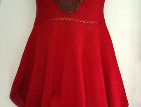 red knitted north maiden dress