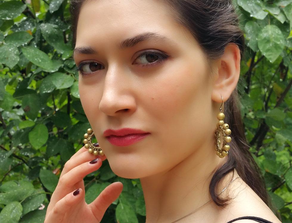 Sun earrings, bronze