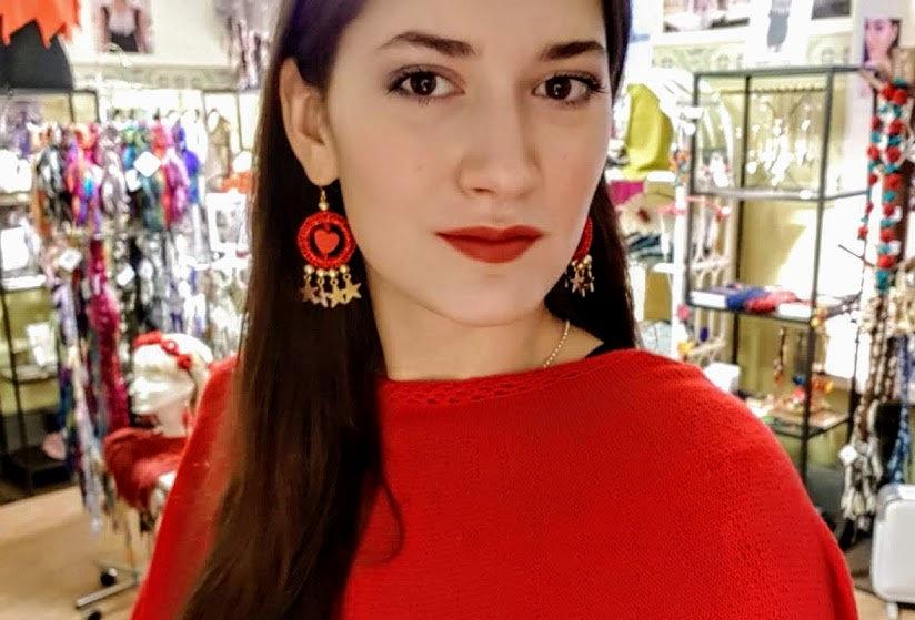 wearing love earrings, christmas