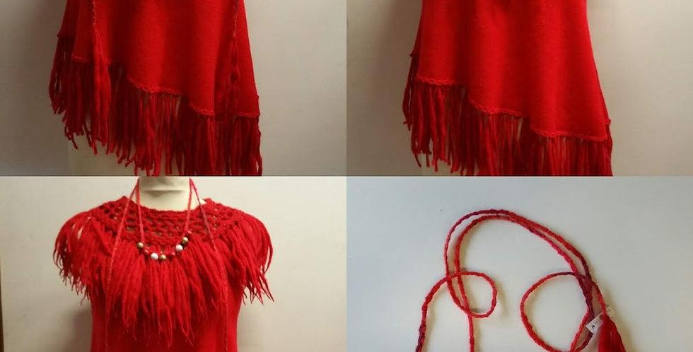 Red fringe nordic amazon vest set