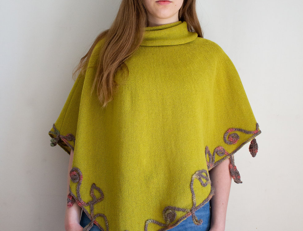 lime knitted mother nature poncho front
