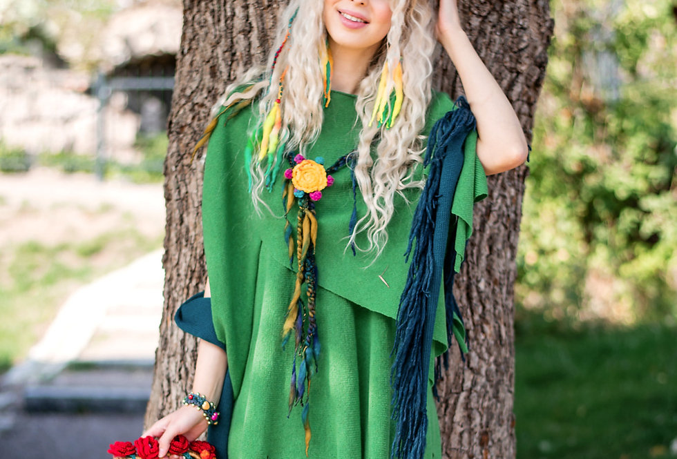 """Nordic Star"" Poncho (spring green)"