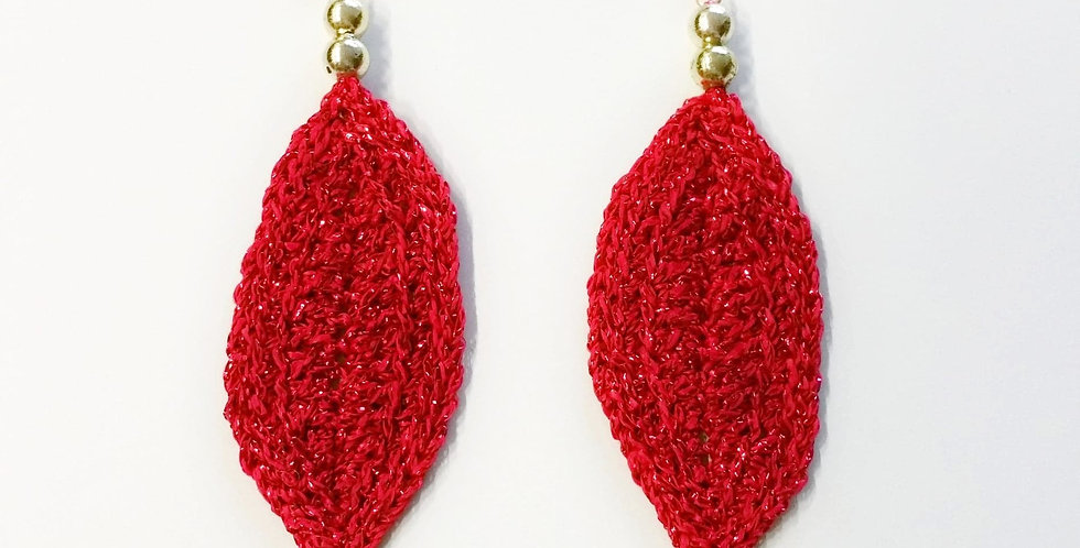 Leaf earrings, red