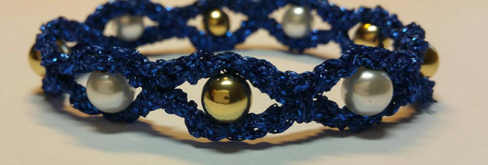 Blue crochet miss galaxy bracelet