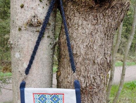 Blue recycle denim folk dance bag