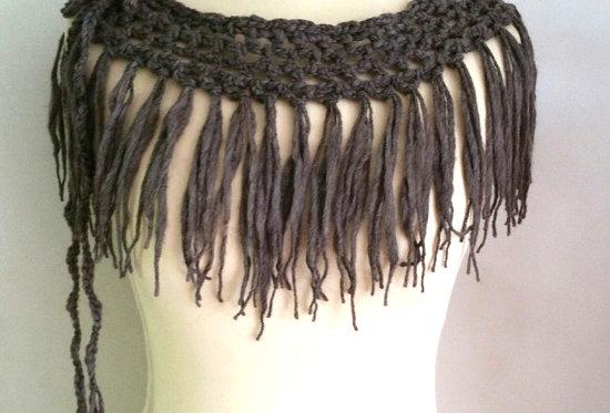 soil crocheted north fringe tie