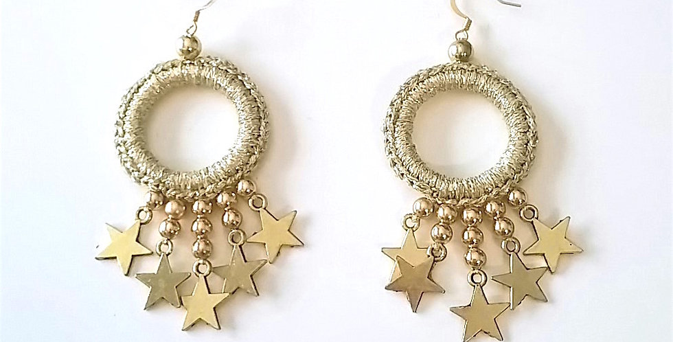 Star earrings, gold
