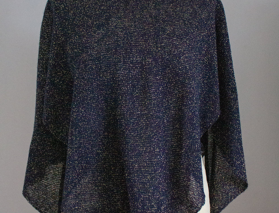blue glitter knitted diamond star poncho front