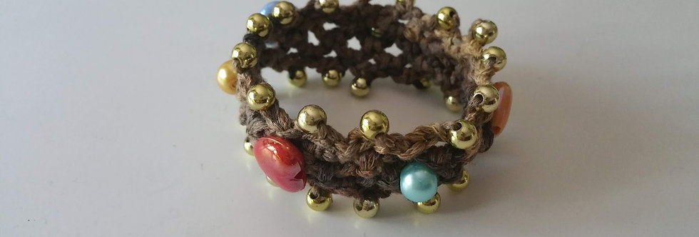 gold crocheted saga bracelet