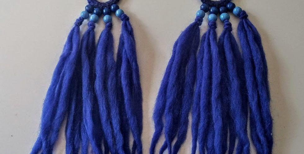 blue coloured WoodO fringe earrings