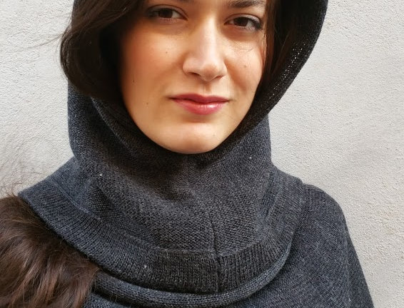 charcoal knitted kalevala hood