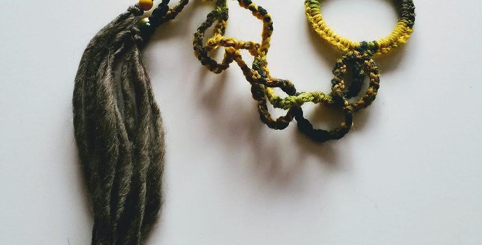 Forest green coloured crocheted Dragon braid hair band