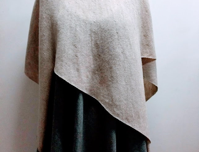 natural knitted four winds poncho with collar