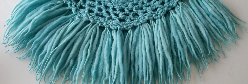 aqua crocheted north fringe collar