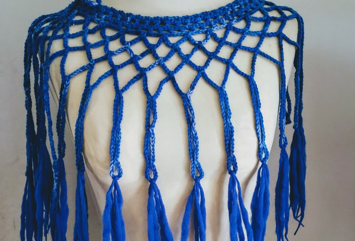blue crocheted louhi lace web