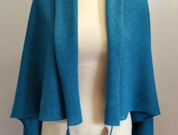 Pacific ocean blue knitted Mother sea poncho as jacket