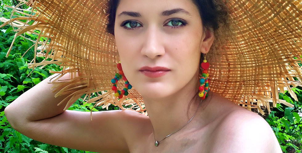 Sunflower earrings, Rainbow