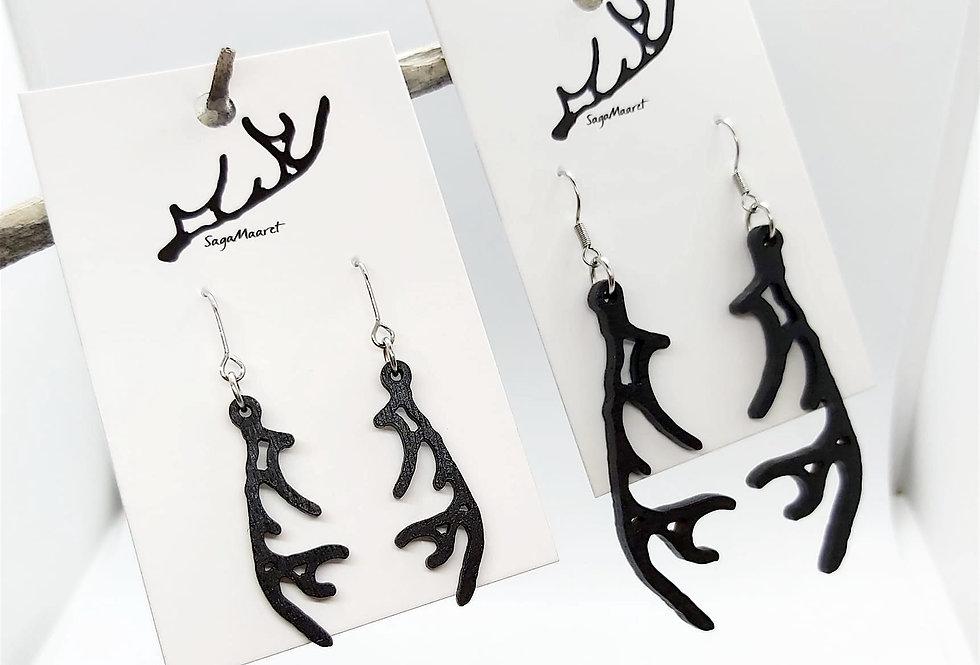 Reindeer horn earrings, black