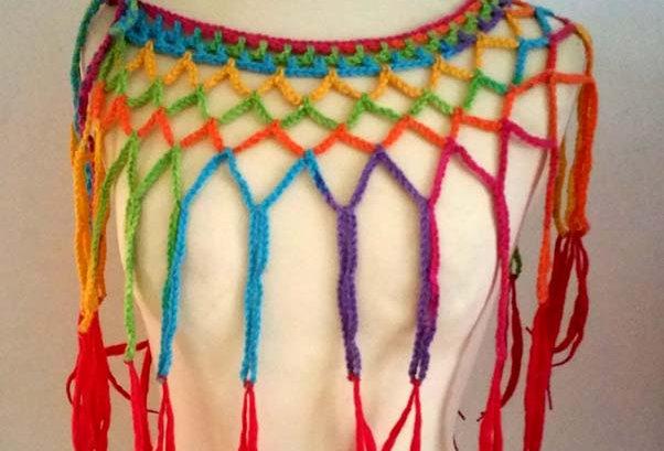 rainbow crocheted louhi lace web