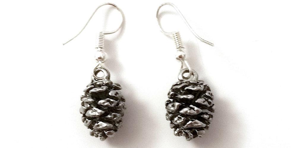 Cone earrings, silver