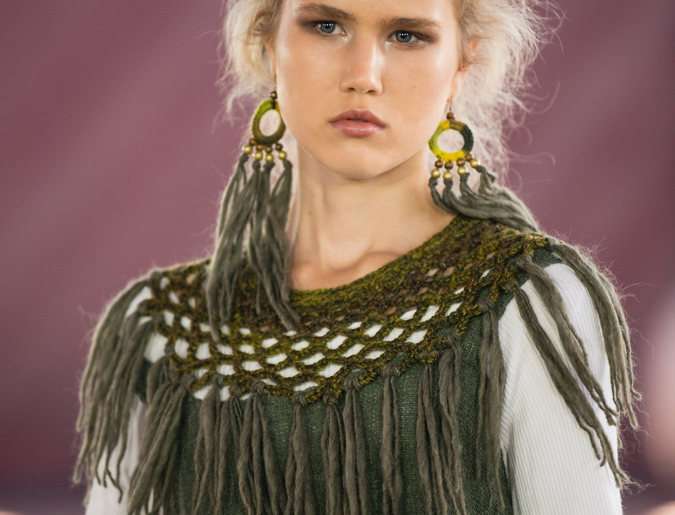 green coloured WoodO fringe earrings