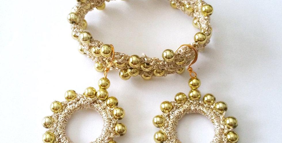 Golden Sun Goddess jewelry set, gold