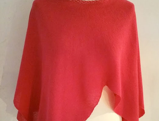 Cranberry coloured knitted Diamond wings poncho