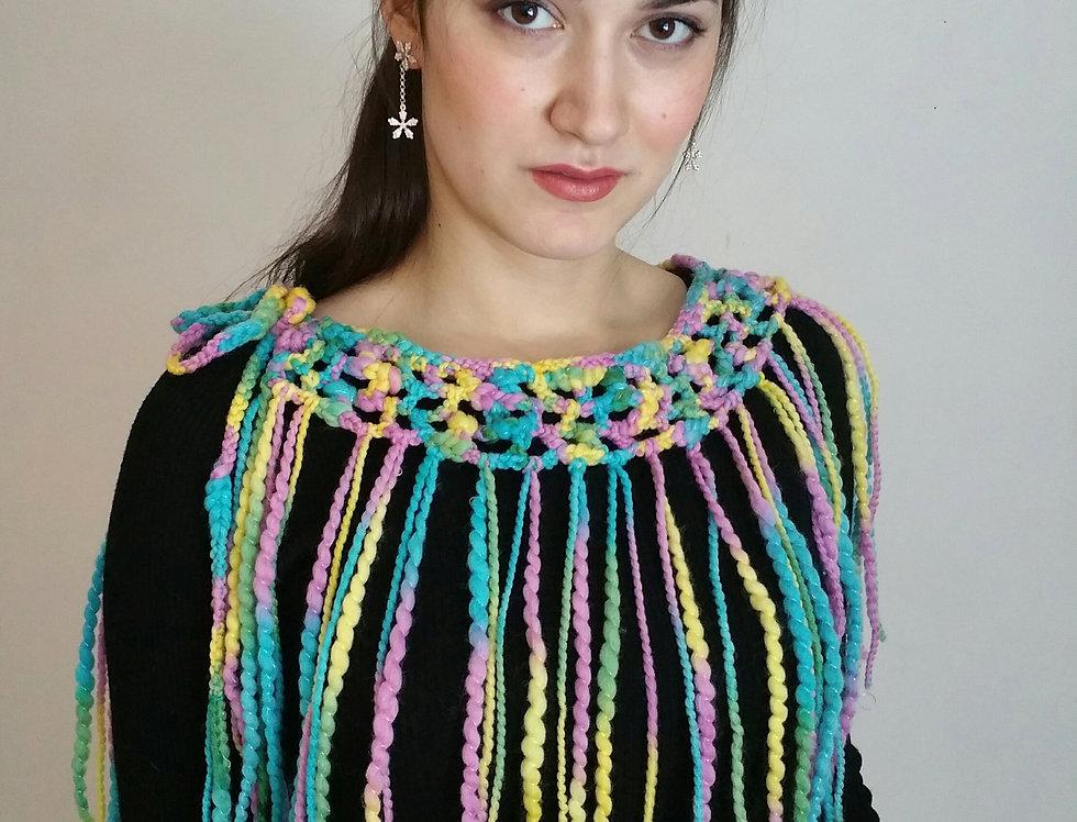 Wearing lagoon coloured crocheted City Shaman tribal belt