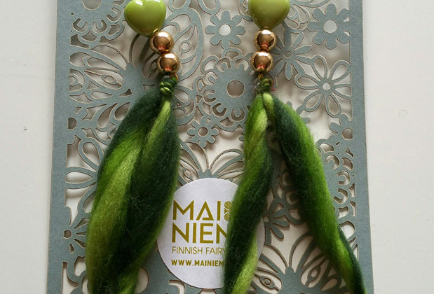 green woollen unity earrings