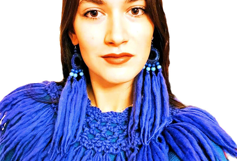 WoodO earrings (blue)