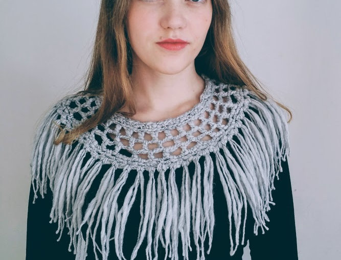 wearing crocheted silver grey north fringe collar