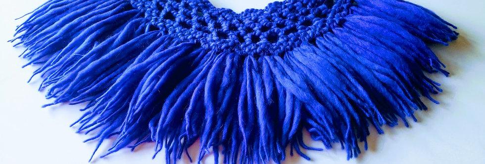 royal blue crocheted north fringe collar